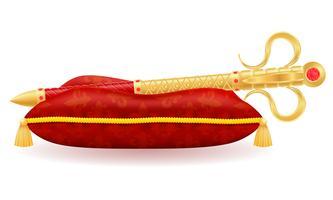 symbool van de koning het koninklijke gouden scepter van de vectorillustratie van de staatsmacht vector