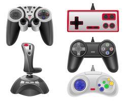 stel pictogrammen joysticks voor gokkenconsoles vectorillustratie EPS 10 vector
