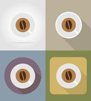 koffiekopje objecten en apparatuur voor de voedsel vectorillustratie vector