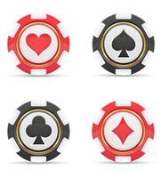 casino chips met kaarten past vectorillustratie