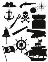 set van piraten pictogrammen zwart silhouet vectorillustratie