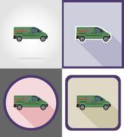 bezorging voertuig plat pictogrammen vector illustratie