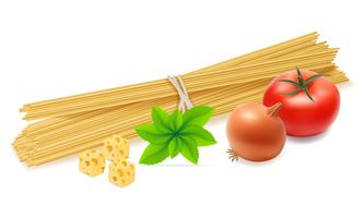 pasta met groenten vectorillustratie