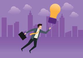 Bedrijfsmens die met Ideepol vliegen vector