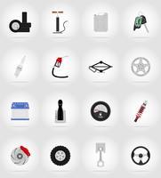 auto-uitrusting plat pictogrammen vector illustratie