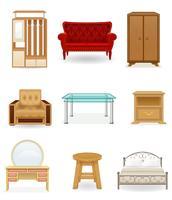 stel pictogrammen meubilair vectorillustratie