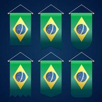 Brazilië lint vlag Vector sjabloonontwerp