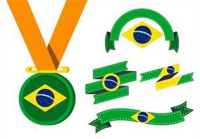 Vlag van Brazilië Clipart Set vector