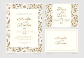 Vector bloemen bruiloft uitnodiging sjabloon