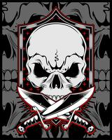 schedel met kruis sword.vector hand tekenen