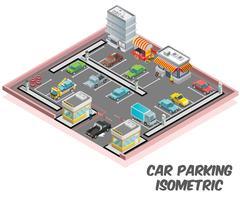 Isometrisch kunstwerkconcept van parkeerterrein
