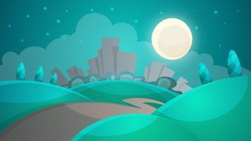 Cartoon nacht landschap. Stad, maan, boom, wegillustratie. ve