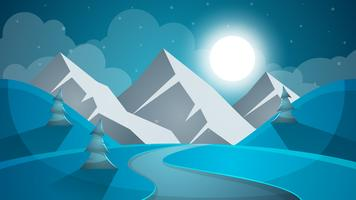 Cartoon sneeuwlandschap. Zon, sneeuw, spar, mountine illustratie. V