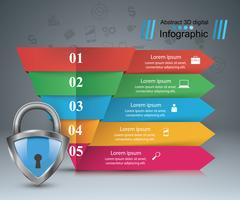 Sleutel, slotpictogram. Zakelijke infographic.