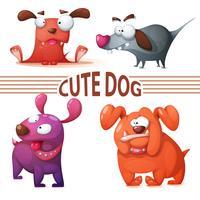Stel gekleurde hond in. Leuke illustratie. vector