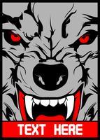 vector wolf met puntige tanden
