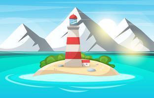 Vuurtoren, zee - cartoon landschap