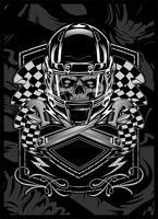 schedel met helm.vector hand tekenen