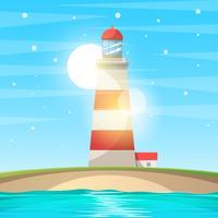 Vuurtoren, zee - cartoon landschap.