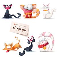 Leuke, grappige, gekke kattenillustratie.