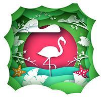 Cartoon papier landschap. flamingo tekens. vector