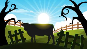 Koe in het bos - cartoon landschap illustratie.