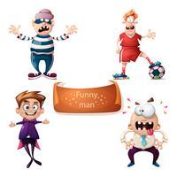 Cartoon set tekens dief, voetbal, voetbal, jongen en kantoor man