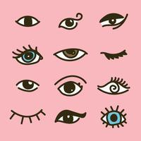 schattige doodled ogen vector