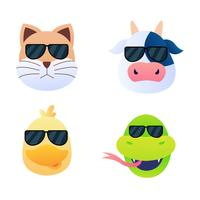 Cool Animal Faces Set vector