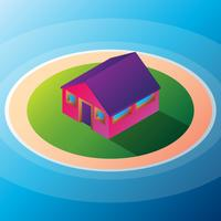 Geïsoleerde Isomatische Kleine Huisillustratie vector