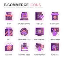 Moderne set e-commerce en winkelen gradiënt plat pictogrammen voor website en mobiele apps. Bevat pictogrammen zoals levering, betaling, winkelmandje, klant, winkel. Conceptuele kleur platte pictogram. Vector pictogram pack.