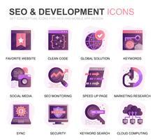 Modern Set Seo en Development Gradient Flat Icons voor website en mobiele apps. Bevat pictogrammen zoals opschooncodes, gegevensbescherming en bewaking. Conceptuele kleur platte pictogram. Vector pictogram pack.