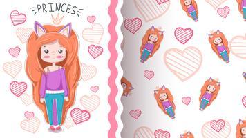 Cute cartoon meisje - naadloos patroon