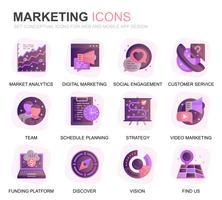Modern Set Business en Marketing Gradient Flat Icons voor Website en mobiele apps. Bevat iconen zoals visie, missie, planning, markt. Conceptuele kleur platte pictogram. Vector pictogram pack.