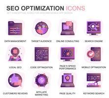 Modern Set Seo en Web Optimization Gradient Flat Icons voor website en mobiele apps. Bevat dergelijke pictogrammen als doel, marketing, verkeersgroei. Conceptuele kleur platte pictogram. Vector pictogram pack.