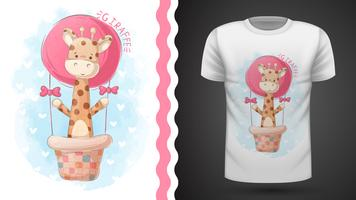 Giraffe en luchtballon - idee voor print t-shirt vector