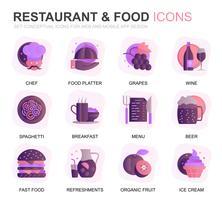 Moderne set restaurant en voedselverloop platte plat pictogrammen voor website en mobiele apps. Bevat pictogrammen zoals fastfood, menu, biologisch fruit, koffiebar. Conceptuele kleur platte pictogram. Vector pictogram pack.