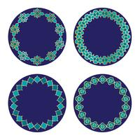 gouden blauwe Marokkaanse cirkelkaders vector