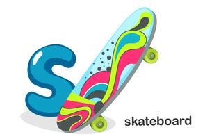 S voor skateboard vector