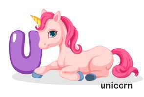 U voor Unicorn vector
