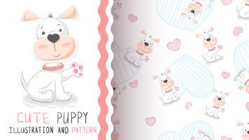 Hallo schattige puppy - naadloos patroon vector