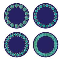 blauwgouden Marokkaanse cirkelframes vector