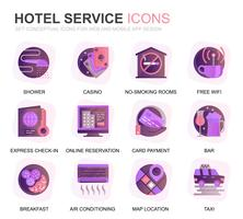 Modern Set Hotel Services Verloop plat pictogrammen voor website en mobiele apps. Bevat pictogrammen zoals Bagage, Receptie, Roomservice, Fitnesscentrum. Conceptuele kleur platte pictogram. Vector pictogram pack.