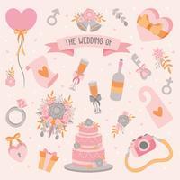 Hand getrokken doodle liefde bruiloft Element Icon Set