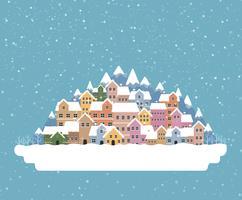 De vlakke stijl van de de winterstad met sneeuw het vallen en berg 003