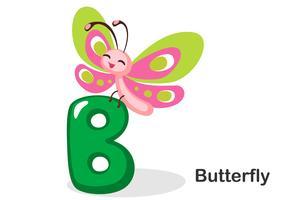 B voor vlinder vector