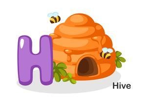 H voor bijenkorf vector