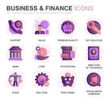 Modern Set Business en Financiën Verloop Plat pictogrammen voor Website en mobiele apps. Bevat pictogrammen zoals analyse, geld, boekhouding, strategie, bank. Conceptuele kleur platte pictogram. Vector pictogram pack.