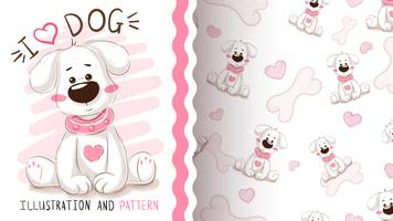 Leuke hond, puppy - naadloos patroon vector