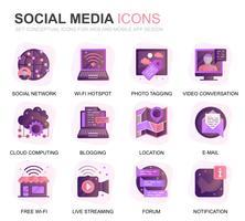Modern Set Social Media en Network Gradient Flat Icons voor website en mobiele apps. Bevat iconen zoals Avatar, Emoji, Chating, Likes. Conceptuele kleur platte pictogram. Vector pictogram pack.